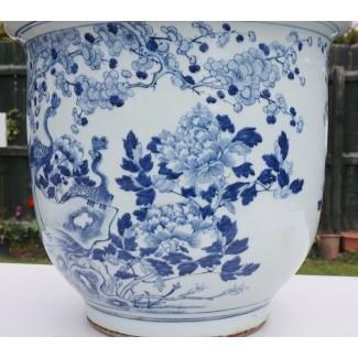 Jarrón de porcelana azul y blanco chino antiguo del siglo XIX ...
