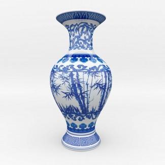 Jarrón de porcelana azul y blanco chino Modelo 3D MAX OBJ
