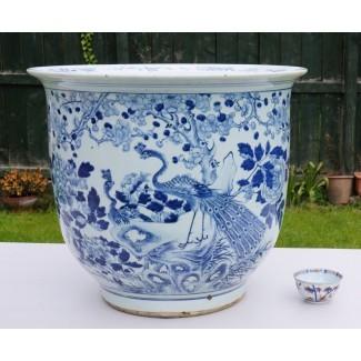 ENORME Jarrón de porcelana azul y blanca china antigua. ..