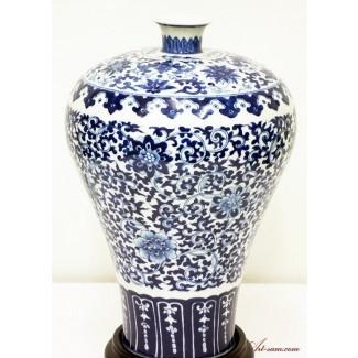 Jarrón chino de porcelana azul y blanca - Pintado a mano esmaltado ...