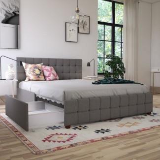 Eliz cama de plataforma de almacenamiento tapizada de abeth