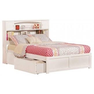 Cama con plataforma Atlantic Furniture AR8532112 Newport con 2 cajones urbanos, completa, blanca