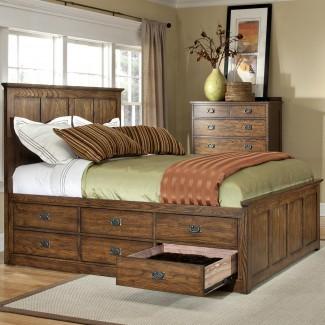 Cama Queen Intercon Oak Park Mission con doce camas ...