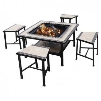 Mesa de pozo de fuego de leña de acero