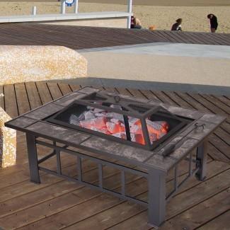 Mesa de acero de hoja de fuego de leña
