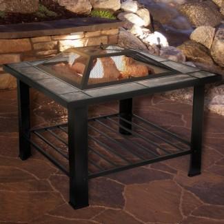 Mesa de acero para fogatas a leña