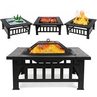 """FIXKIT Mesa para fogata al aire libre con parrilla Parrilla , Calentador de fuego multifuncional para terraza de jardín / BBQ / Pozo de hielo, Chimenea cuadrada de 32 """"de diámetro con cubierta impermeable"""
