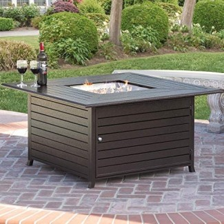 Mejor Choice Products - Mesa para fogatas al aire libre con gas de aluminio extruido BCP con tapa