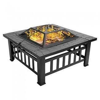 """Bonnlo 32 """"Fire Fire Outdoor Outdoor Fire Burning Table Patio trasero, terraza, patio, camping: incluye la parte superior de malla con pantalla de chispa y póker"""