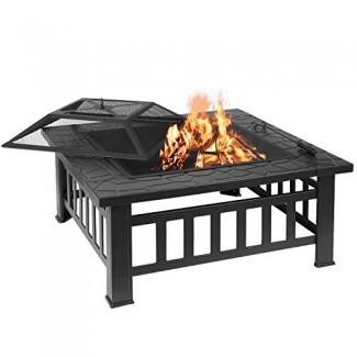 femor 32 '' Fire Pit Table Outdoor, patio multifuncional Patio trasero Jardín Chimenea Calentador / BBQ / Ice Pit, Estufa cuadrada con parrilla de parrilla y cubierta impermeable