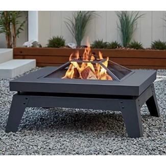 Mesa cuadrada de acero revestido de polvo gris - Chimeneas para fogatas exteriores para leña exterior Ambiente acogedor de fuego para noches pasadas en su patio