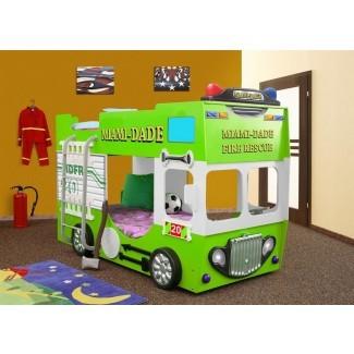 Litera con colchón para niño pequeño con camión de bomberos Lutterworth