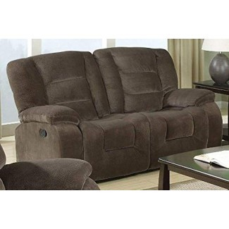 Loveseat reclinable doble Charlie Sage marrón