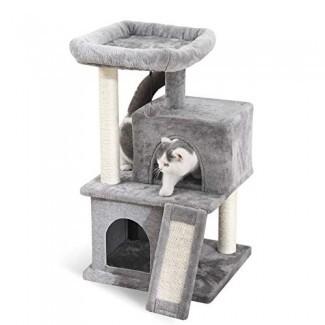 PAWZ Road Cat Tree Torre de gato de lujo con condominios dobles, percha espaciosa, poste de sisal rascador totalmente envuelto y bolas colgantes reemplazables Gris