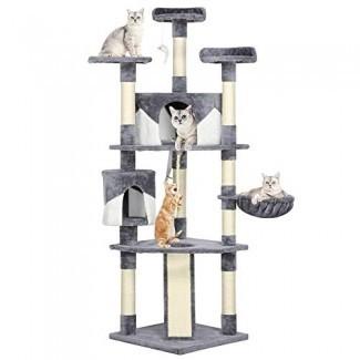 """Yaheetech 79 """"árboles de gatos de varios niveles con postes para rascar cubiertos de sisal, perchas de felpa y condominios para gatitos, gatos y mascotas (gris y blanco)"""