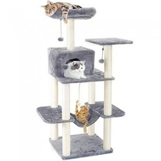 """PAWZ Road 60 """"Cat Tree Multinivel Cat Towers con condominios de lujo, poste rascador de sisal completamente envuelto, hamaca de felpa y bolas colgantes"""