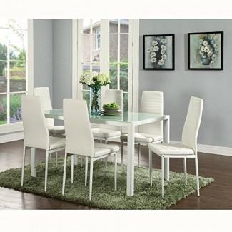 IDS Online Juego de 6 piezas Juego moderno de silla de comedor de cuero negro PU con Almohadilla para el pie