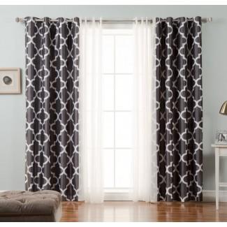 Paneles de cortina opaca geométrica Morgana (juego de 2)