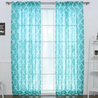 Paneles de cortina de bolsillo con barra transparente geométrica (juego de 2)