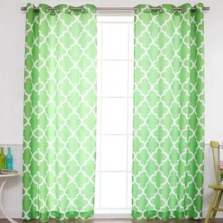 Kermit Basketweave paneles geométricos marroquíes de cortina de ojal para oscurecimiento de habitaciones
