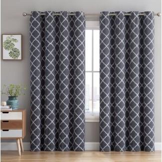 Paneles de cortina de ojal térmicos con bordado geométrico Kuhlmann (juego de 2)