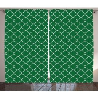 Millersville Quatrefoil Graphic Print and Text Semi-Sheer Rod Pocket Paneles de cortina (juego de 2)