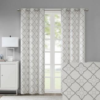 Agathe Cotton Duck Impreso Paneles de cortina de ojales geométricos impresos (juego de 2)