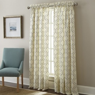 Paneles de cortina de bolsillo con varilla semi-transparente geométrica de ventana bordada Hampton (juego de 2)