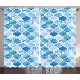 Patrón de mosaico árabe oriental marroquí considino en pintura de acuarela Arte retro estilo islámico Impresión gráfica y texto Paneles de cortina de bolsillo de varilla semitransparente (juego de 2)