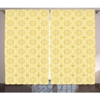 Stoneridge Quatrefoil Patrón abstracto tradicional con efectos de arabescos marroquíes del Medio Oriente Impresión gráfica y texto Paneles de cortina de bolsillo con varilla semi-transparente (juego de 2)