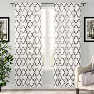Runyon Geometric Sheer Rod Pocket Panel de cortina simple