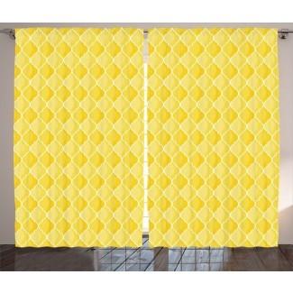 Wightmans Quatrefoil amarillo marroquí con temática ovalada geométrica Ombre patrón gráfico gráfico y texto varilla semi-transparente Paneles de cortina de bolsillo (juego de 2)