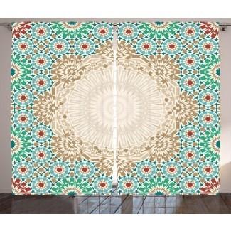 Patrón de mosaico de arte otomano marroquí de Boevange con formas florales orientales Desplazamiento antiguo Cerámica Boho Print Impresión gráfica y texto Paneles de cortina de bolsillo de varilla semitransparente (juego de 2)
