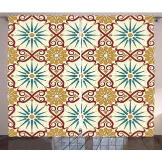 Figuras de arte de geometría sagrada islámica marroquí oriental de Cote con elementos clásicos de Damasco Imagen gráfica y texto Paneles de cortina de bolsillo con varilla semi-transparente (juego de 2)