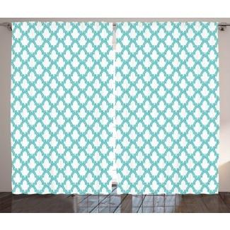 Decoración de mosaico marroquí Paneles de cortina de bolsillo de varilla de oscurecimiento natural / floral (juego de 2)