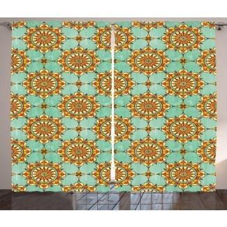 Motivo marroquí abstracto ornamental marroquí en el costado con influencias victorianas de la vieja moda Obra gráfica y texto Paneles de cortina de bolsillo con varilla semitransparente (juego de 2)
