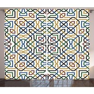 Motivo árabe tradicional marroquí de Dahmen con efectos árabes étnicos clásicos Diseño de Marrakech Impresión gráfica Impresión y texto Paneles de cortina de bolsillo con varilla semitransparente (juego de 2)