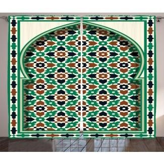 Arco marroquí del Medio Oriente marroquí de Briawood con detalles florales medievales Mezquita retro Impresión gráfica y texto Paneles de cortina de bolsillo con varilla semi-transparente (juego de 2)