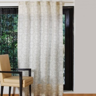 Panel de cortina simple de bolsillo de varilla semi-transparente de damasco marroquí