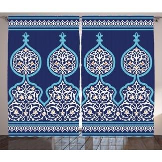 Briella, estilo bohemio marroquí, figuras turcas del Medio Oriente antiguo, imagen ornamental mística, impresión gráfica y texto, paneles de cortina de bolsillo con varilla semi-transparente (juego de 2)