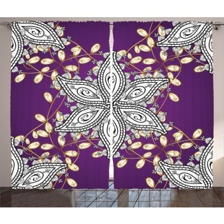 Pantalla oriental vintage Claus Mauve con pétalos florales marroquíes del Medio Oriente con detalles Estampado gráfico y texto Paneles de cortina de bolsillo con varilla semitransparente (juego de 2)
