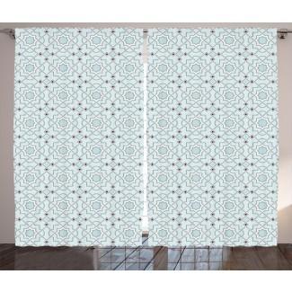 Cozart Arabesque Adorno tradicional marroquí oriental con efectos de estilo mosaico Obra étnica Impresión gráfica y texto Paneles de cortina de bolsillo con varilla semi-transparente (juego de 2)