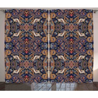 Blumefield Paisley Florets históricos marroquíes con efectos eslavos Heritage Design Graphic Print & Text Semi-Sheer Rod Paneles de cortina de bolsillo (juego de 2)