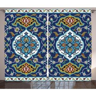 Motivo oriental auténtico marroquí de Brendan con efecto de azulejo de estilo bizantino clásico Obra gráfica y texto Paneles de cortina de bolsillo con varilla semitransparente (juego de 2)