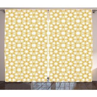 Paola Sagrado Patrón de geometría tradicional con ilustraciones de efectos étnicos islámicos marroquíes Grabado gráfico y texto Varilla semitransparente Paneles de cortina de bolsillo (juego de 2)