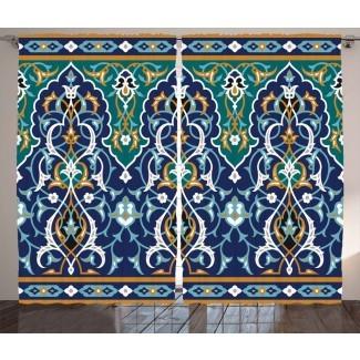 Bissett Marroquí Étnico Embellecido Oriental Figura Pétalos Hippie Vintage Tribal Mosaico Diseño Gráfico Estampado y Texto Semi-Sheer Rod Cortina Paneles Paneles (Juego de 2)