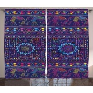 Birrell Elefantes de bebé persas marroquíes tradicionales del Medio Oriente con estampado boho estampado gráfico y texto Paneles de cortina de bolsillo con varilla semi-transparente (juego de 2)