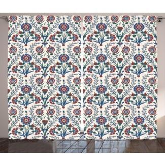 Patrón de adornos florales étnicos antiguos marroquíes de Zanesville con floretes remolinados y hojas de arte turco Estampado gráfico y texto Paneles de cortina de bolsillo con varilla semitransparente (juego de 2)