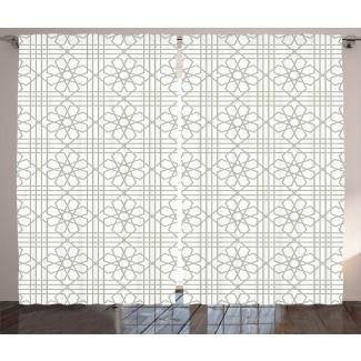 Paneles de cortina de bolsillo con barra de oscurecimiento con estampado floral marroquí (juego de 2)