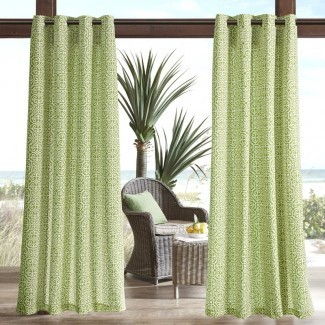 Willette Semi-Sheer Outdoor Grommet Single Cortina Panel